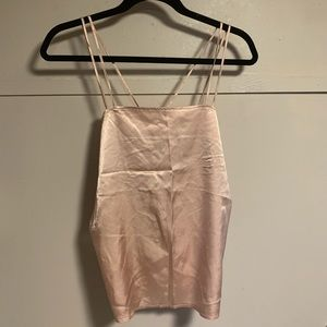 Pink silk strappy tank